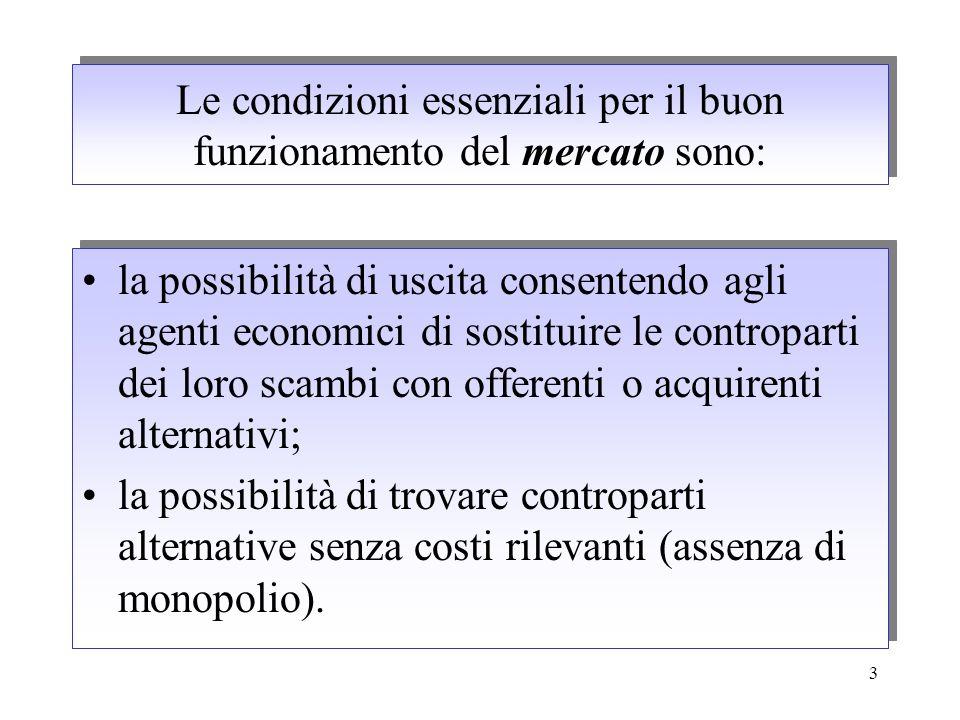 Le condizioni essenziali per il buon funzionamento del mercato sono: