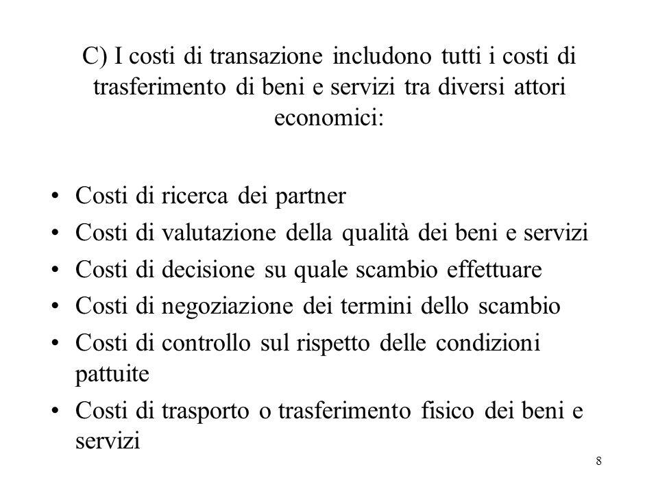 C) I costi di transazione includono tutti i costi di trasferimento di beni e servizi tra diversi attori economici:
