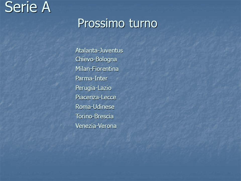 Serie A Prossimo turno Atalanta-Juventus Chievo-Bologna