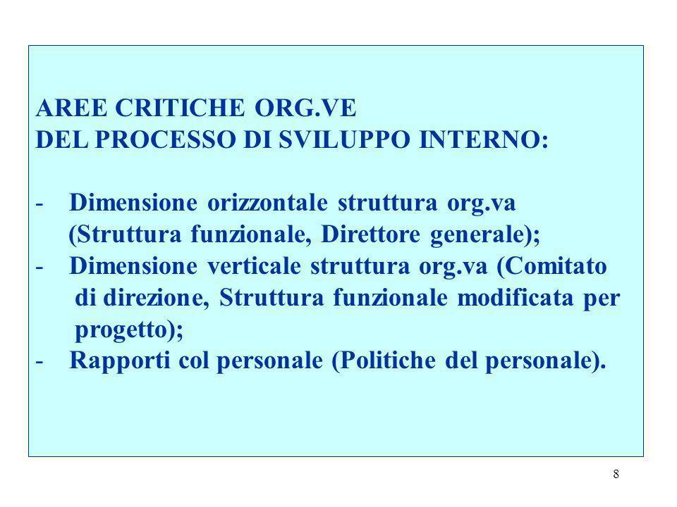 AREE CRITICHE ORG.VE DEL PROCESSO DI SVILUPPO INTERNO: Dimensione orizzontale struttura org.va. (Struttura funzionale, Direttore generale);