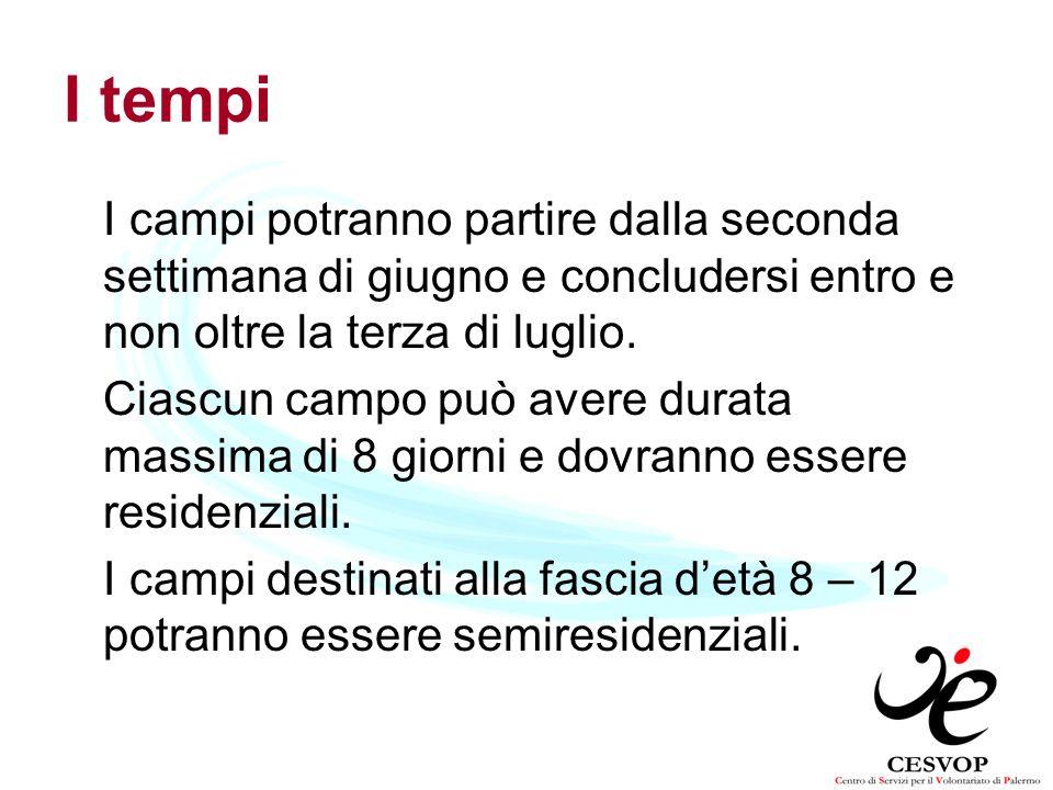 I tempi I campi potranno partire dalla seconda settimana di giugno e concludersi entro e non oltre la terza di luglio.