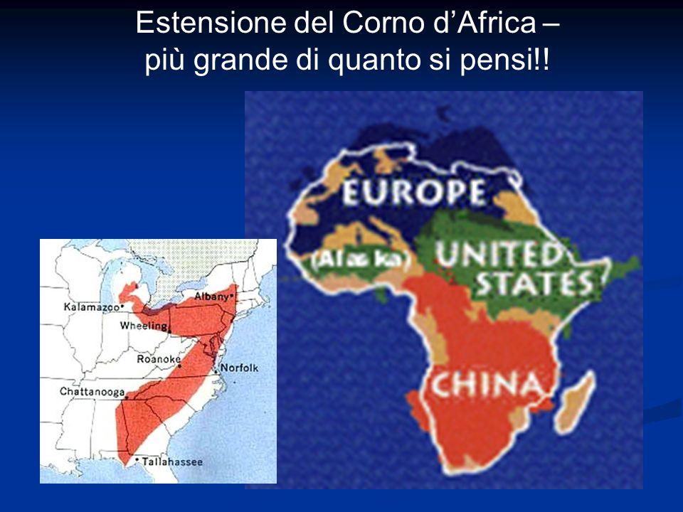 Estensione del Corno d'Africa – più grande di quanto si pensi!!