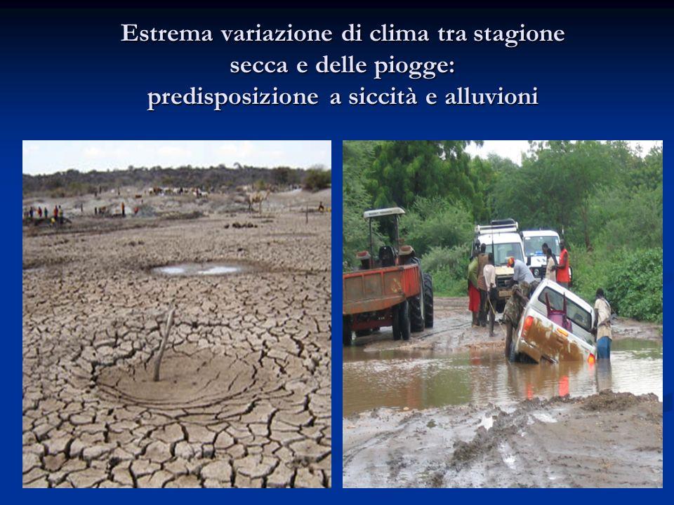 Estrema variazione di clima tra stagione secca e delle piogge: predisposizione a siccità e alluvioni