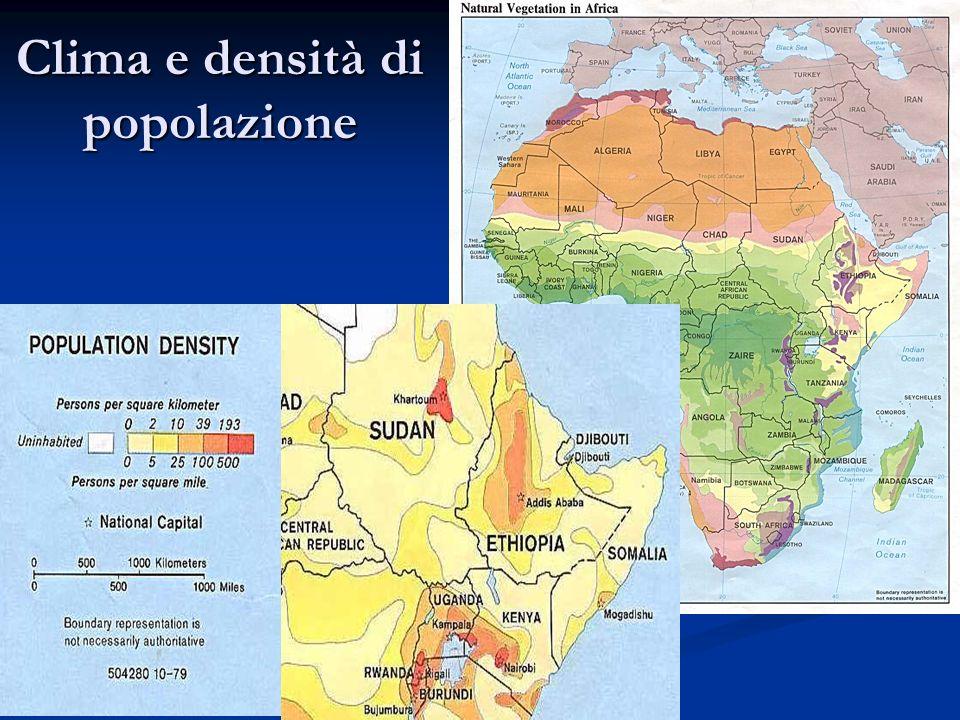 Clima e densità di popolazione