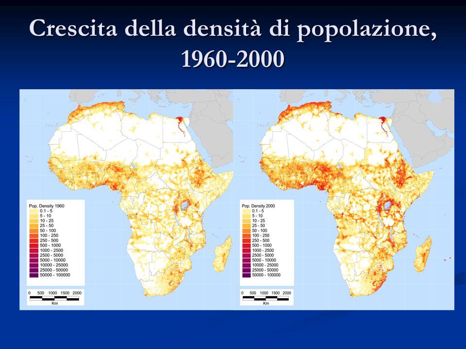 Crescita della densità di popolazione, 1960-2000