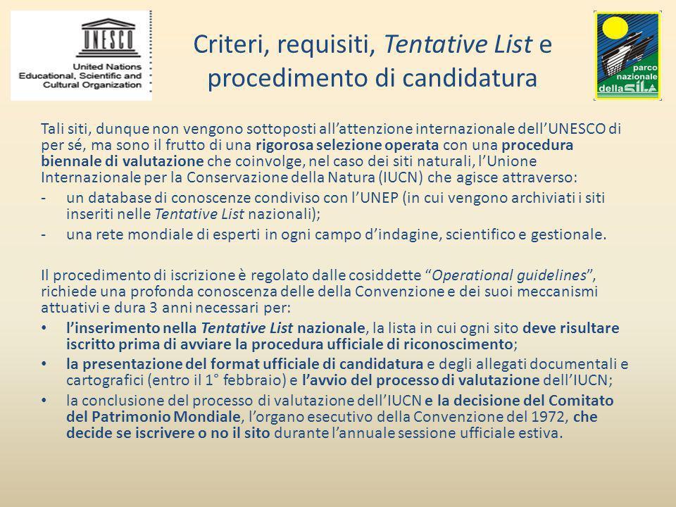 Criteri, requisiti, Tentative List e procedimento di candidatura