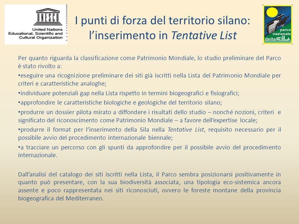 I punti di forza del territorio silano: l'inserimento in Tentative List