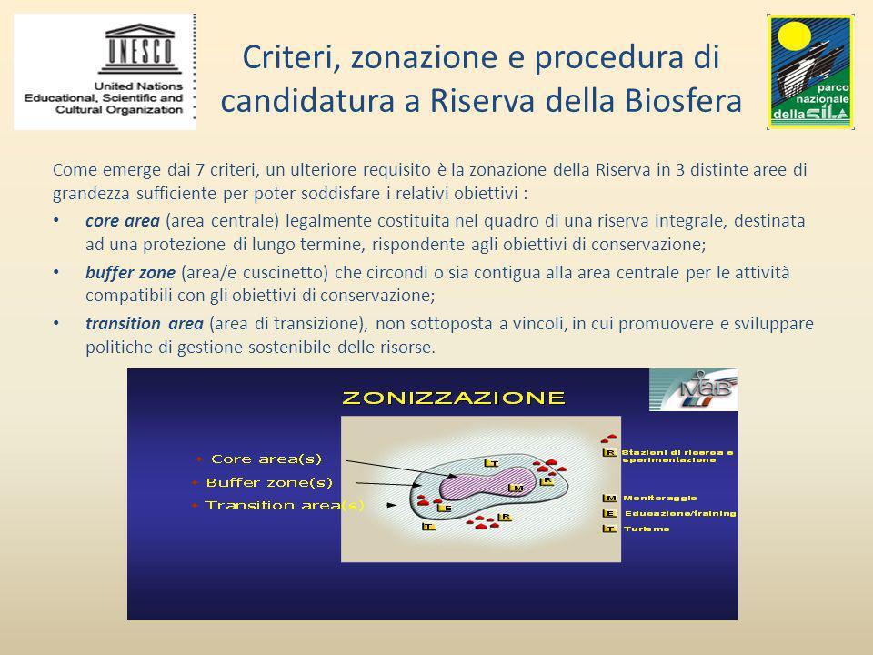 Criteri, zonazione e procedura di candidatura a Riserva della Biosfera