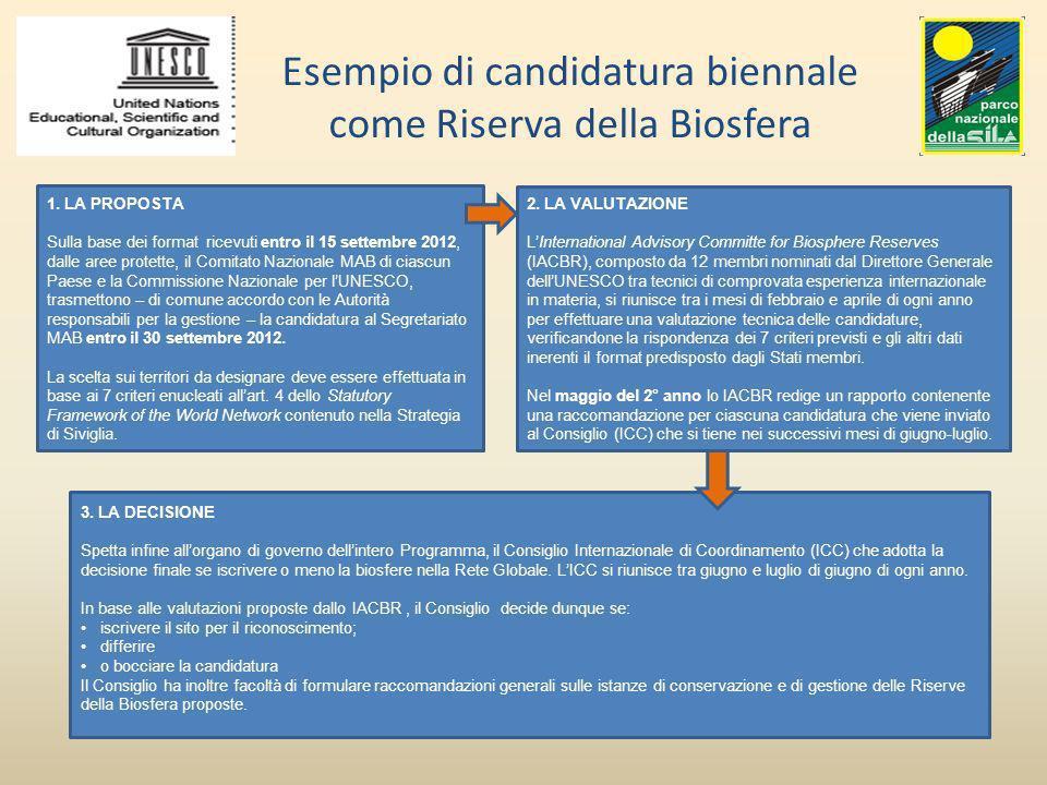 Esempio di candidatura biennale come Riserva della Biosfera