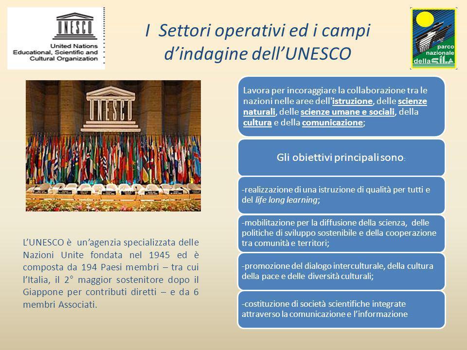 I Settori operativi ed i campi d'indagine dell'UNESCO