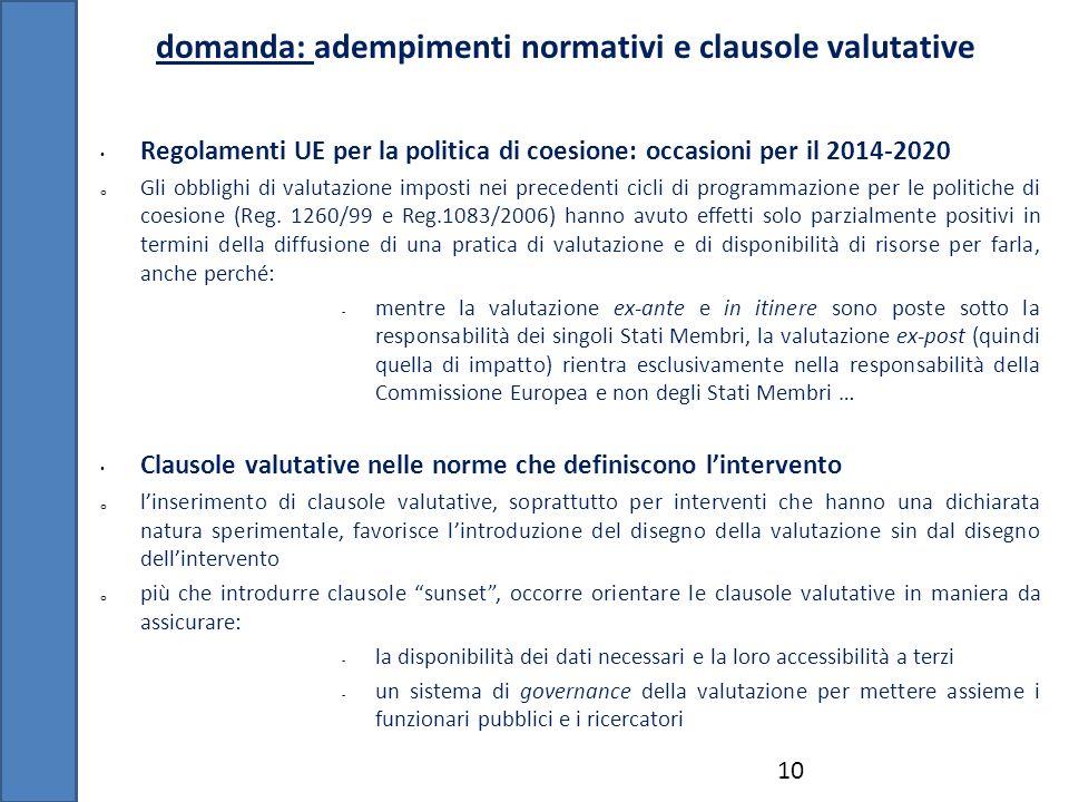 domanda: adempimenti normativi e clausole valutative