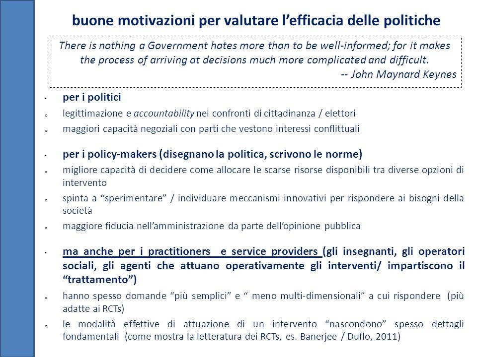 buone motivazioni per valutare l'efficacia delle politiche