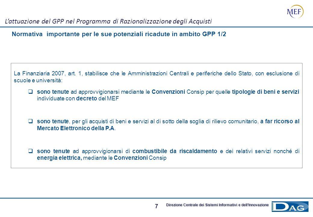L'attuazione del GPP nel Programma di Razionalizzazione degli Acquisti