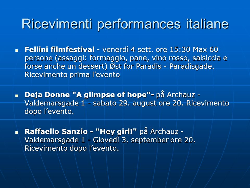 Ricevimenti performances italiane