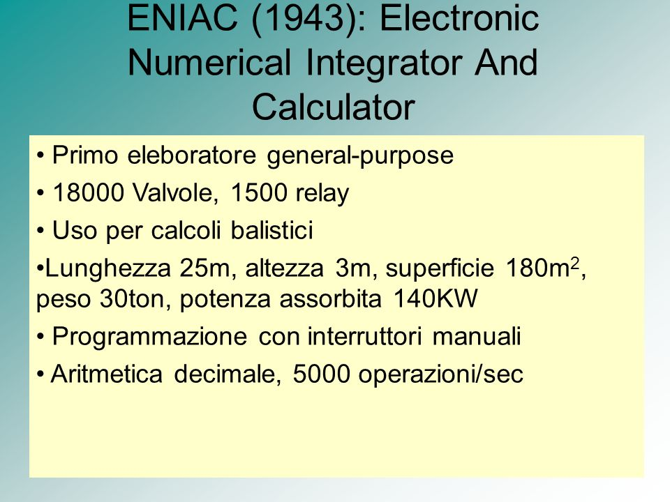 ENIAC (1943): Electronic Numerical Integrator And Calculator