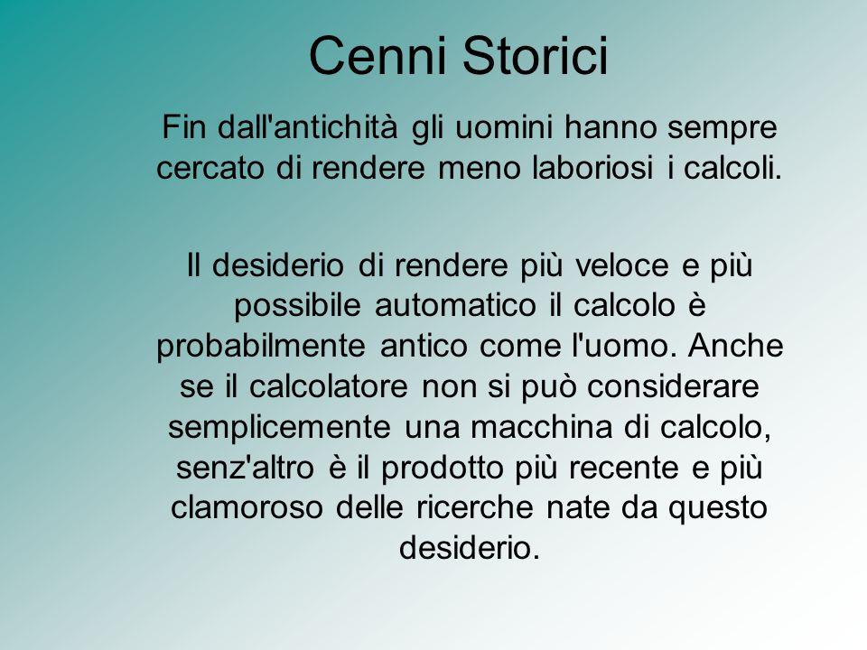 Cenni StoriciFin dall antichità gli uomini hanno sempre cercato di rendere meno laboriosi i calcoli.