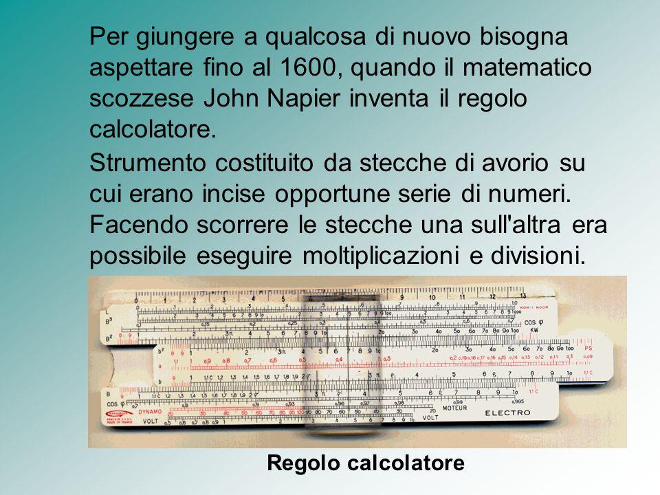 Per giungere a qualcosa di nuovo bisogna aspettare fino al 1600, quando il matematico scozzese John Napier inventa il regolo calcolatore.