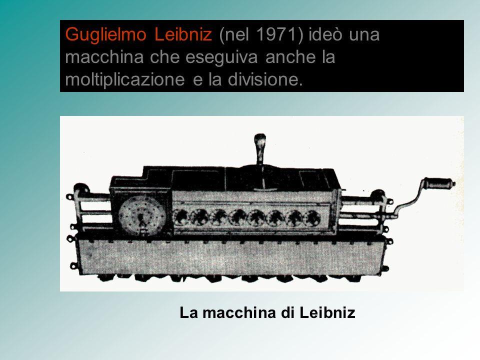 Guglielmo Leibniz (nel 1971) ideò una macchina che eseguiva anche la moltiplicazione e la divisione.