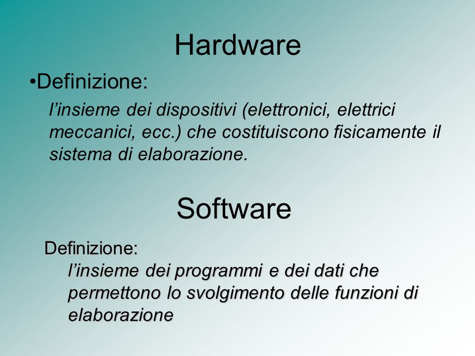 Hardware Software Definizione: