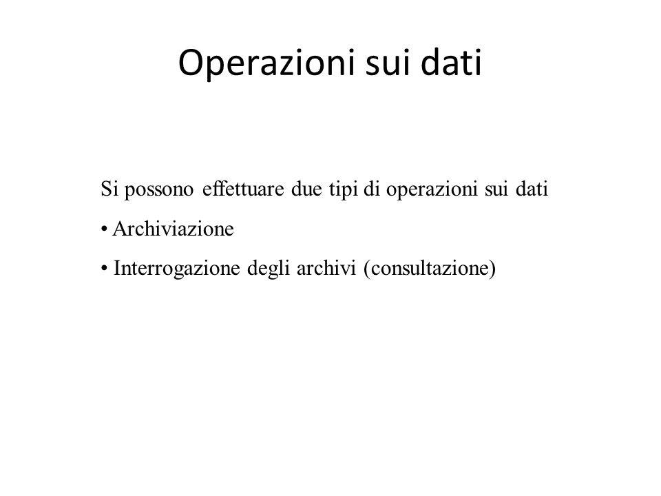 Operazioni sui dati Si possono effettuare due tipi di operazioni sui dati.