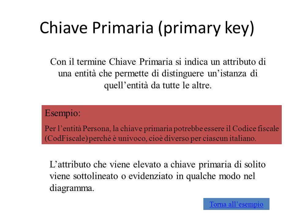 Chiave Primaria (primary key)