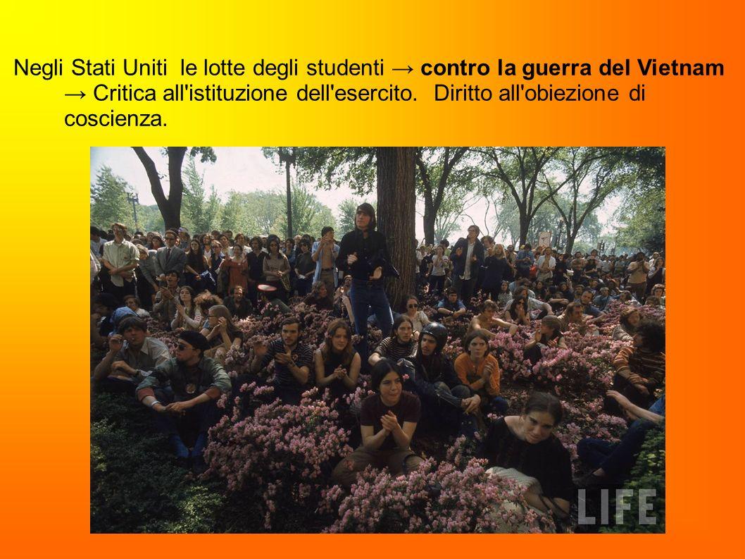 Negli Stati Uniti le lotte degli studenti → contro la guerra del Vietnam → Critica all istituzione dell esercito.