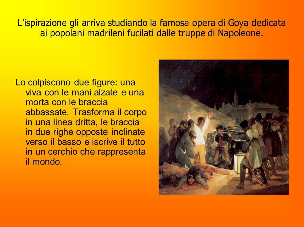 L'ispirazione gli arriva studiando la famosa opera di Goya dedicata ai popolani madrileni fucilati dalle truppe di Napoleone.