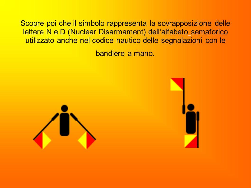 Scopre poi che il simbolo rappresenta la sovrapposizione delle lettere N e D (Nuclear Disarmament) dell'alfabeto semaforico utilizzato anche nel codice nautico delle segnalazioni con le bandiere a mano.