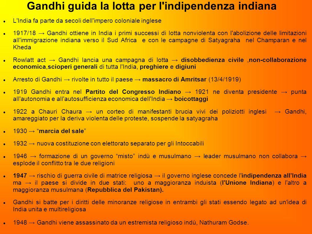 Gandhi guida la lotta per l indipendenza indiana