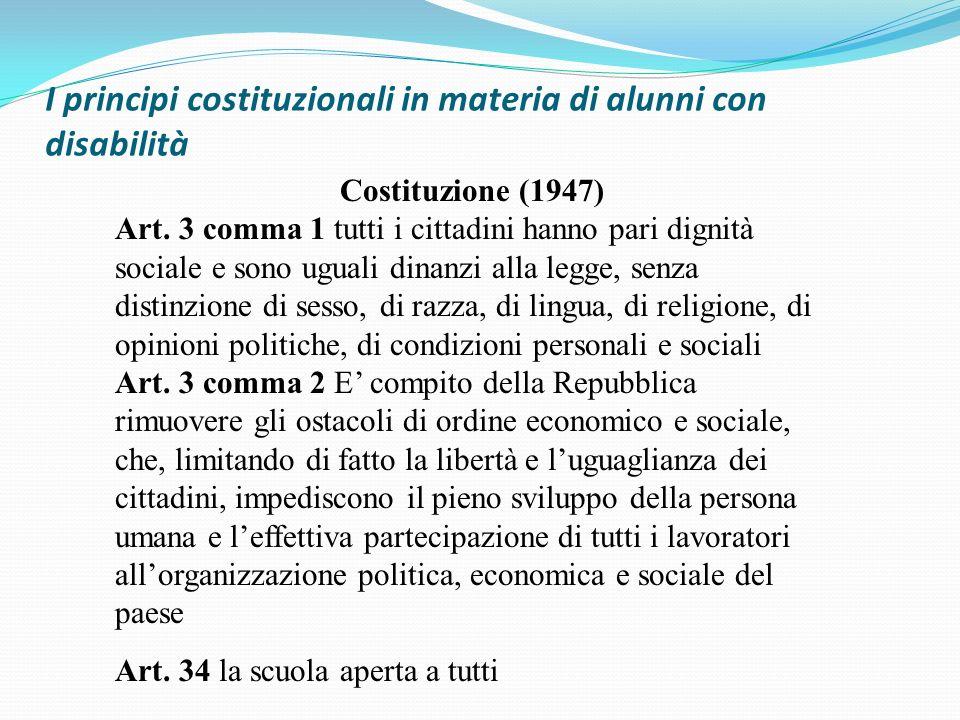 I principi costituzionali in materia di alunni con disabilità