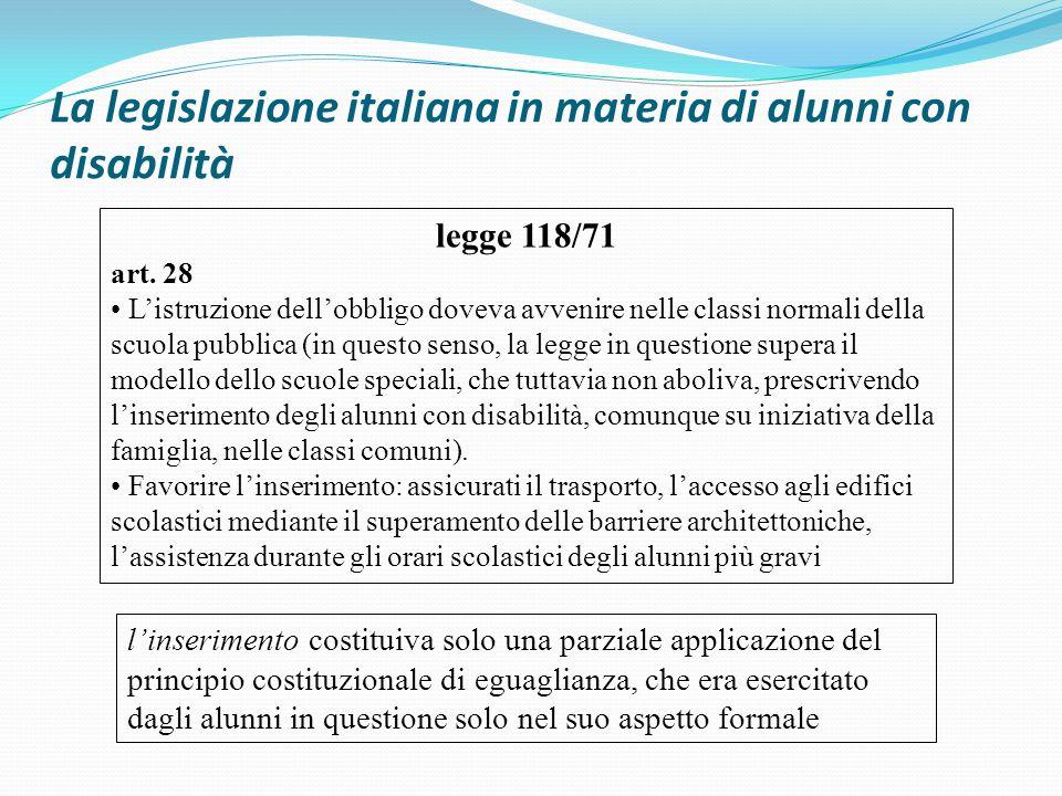 La legislazione italiana in materia di alunni con disabilità