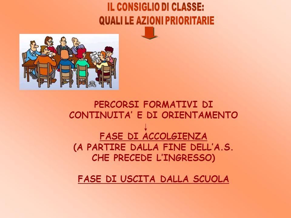 PERCORSI FORMATIVI DI CONTINUITA' E DI ORIENTAMENTO