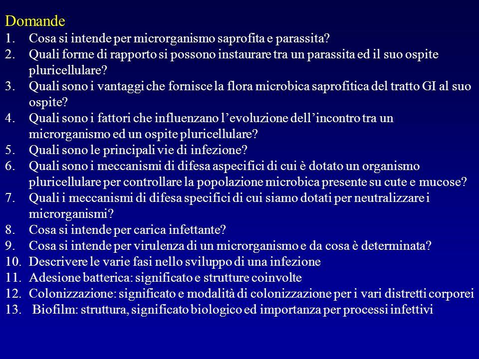 Domande Cosa si intende per microrganismo saprofita e parassita