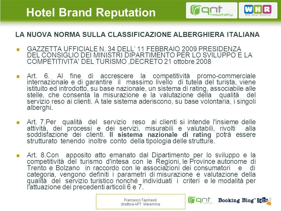 LA NUOVA NORMA SULLA CLASSIFICAZIONE ALBERGHIERA ITALIANA
