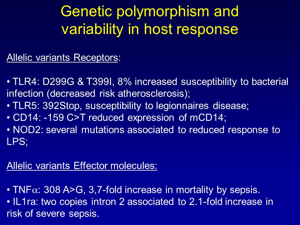 Genetic polymorphism and variability in host response