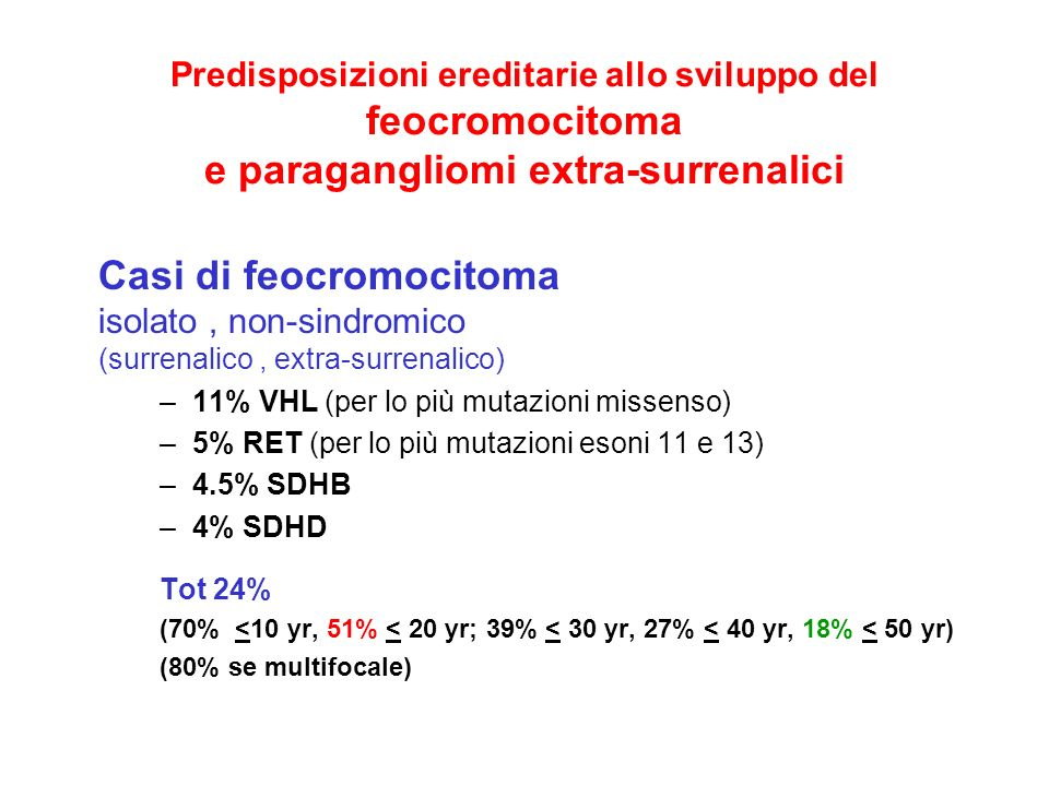 Casi di feocromocitoma