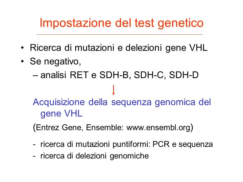 Impostazione del test genetico