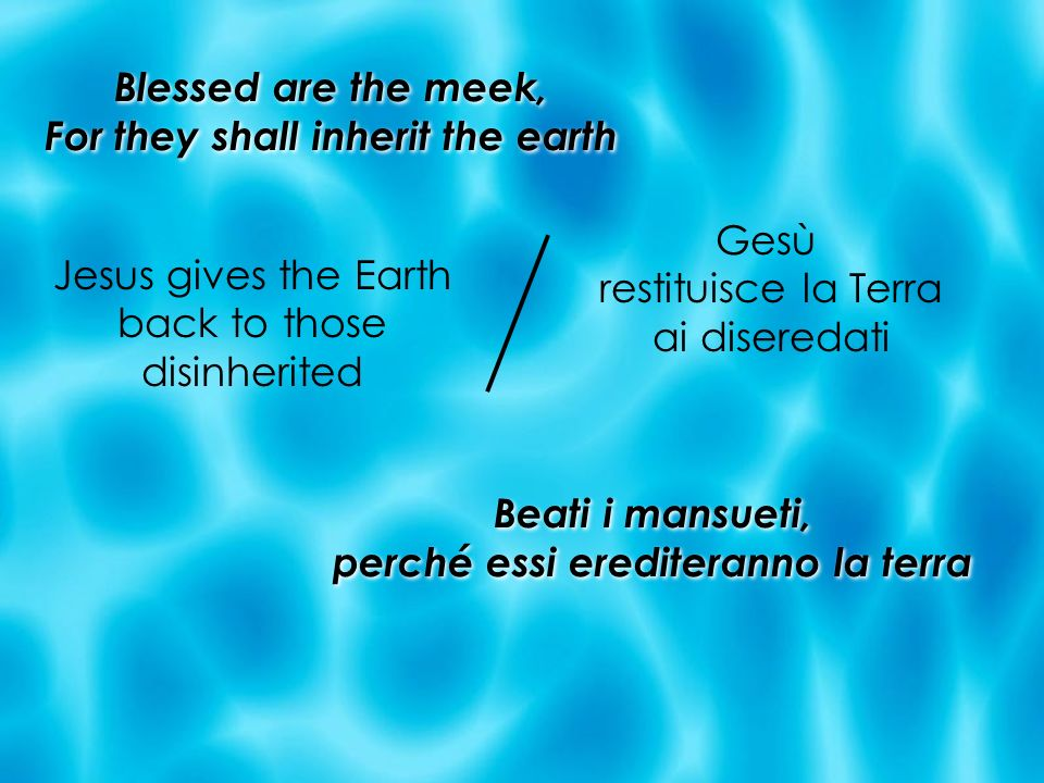 Blessed are the meek, For they shall inherit the earth