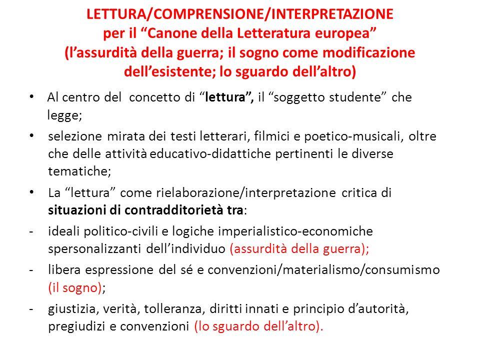 LETTURA/COMPRENSIONE/INTERPRETAZIONE per il Canone della Letteratura europea (l'assurdità della guerra; il sogno come modificazione dell'esistente; lo sguardo dell'altro)