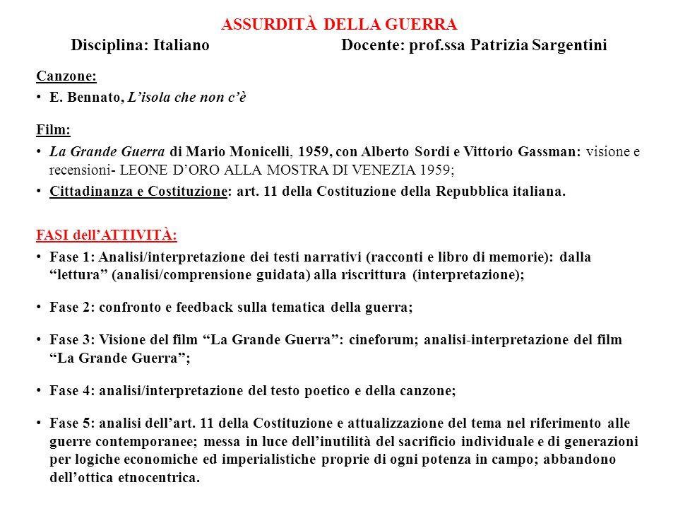 ASSURDITÀ DELLA GUERRA Disciplina: Italiano Docente: prof