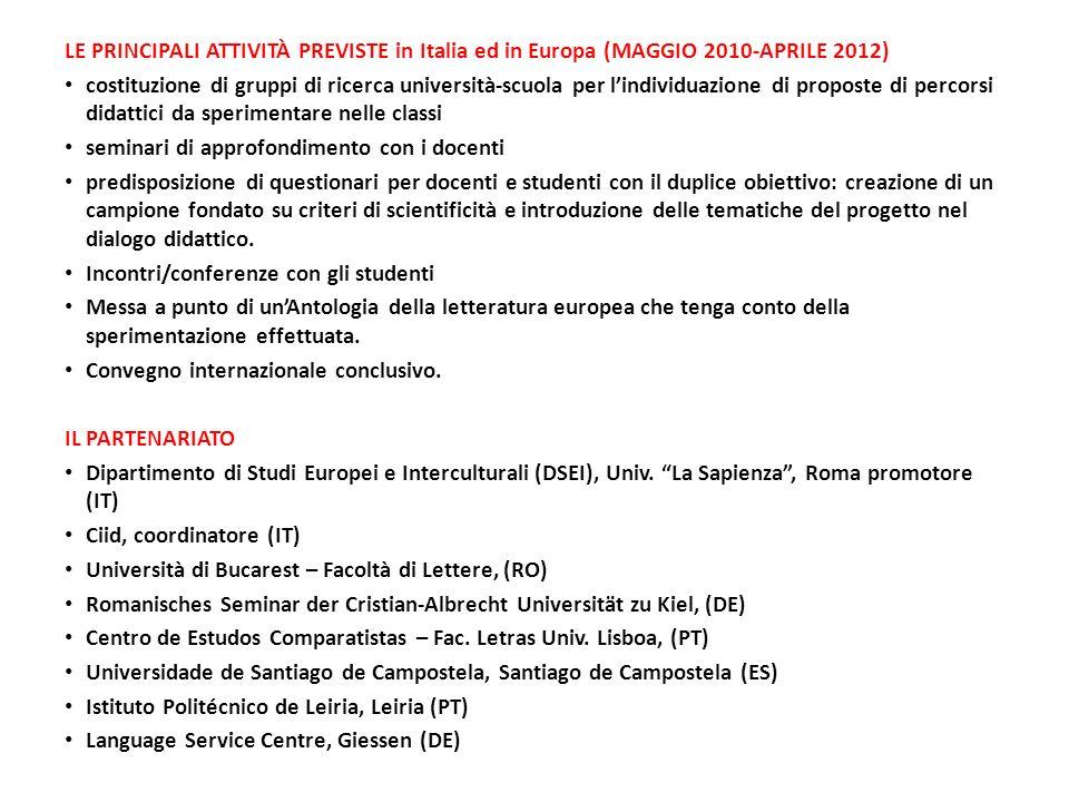 LE PRINCIPALI ATTIVITÀ PREVISTE in Italia ed in Europa (MAGGIO 2010-APRILE 2012)