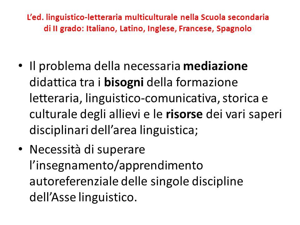L'ed. linguistico-letteraria multiculturale nella Scuola secondaria di II grado: Italiano, Latino, Inglese, Francese, Spagnolo