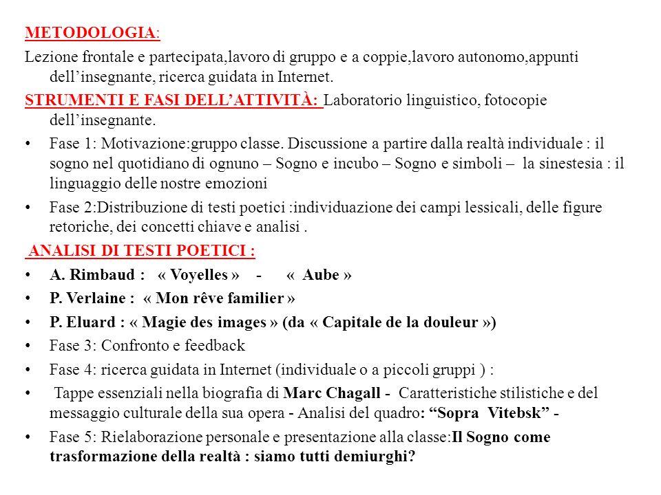 METODOLOGIA: Lezione frontale e partecipata,lavoro di gruppo e a coppie,lavoro autonomo,appunti dell'insegnante, ricerca guidata in Internet.