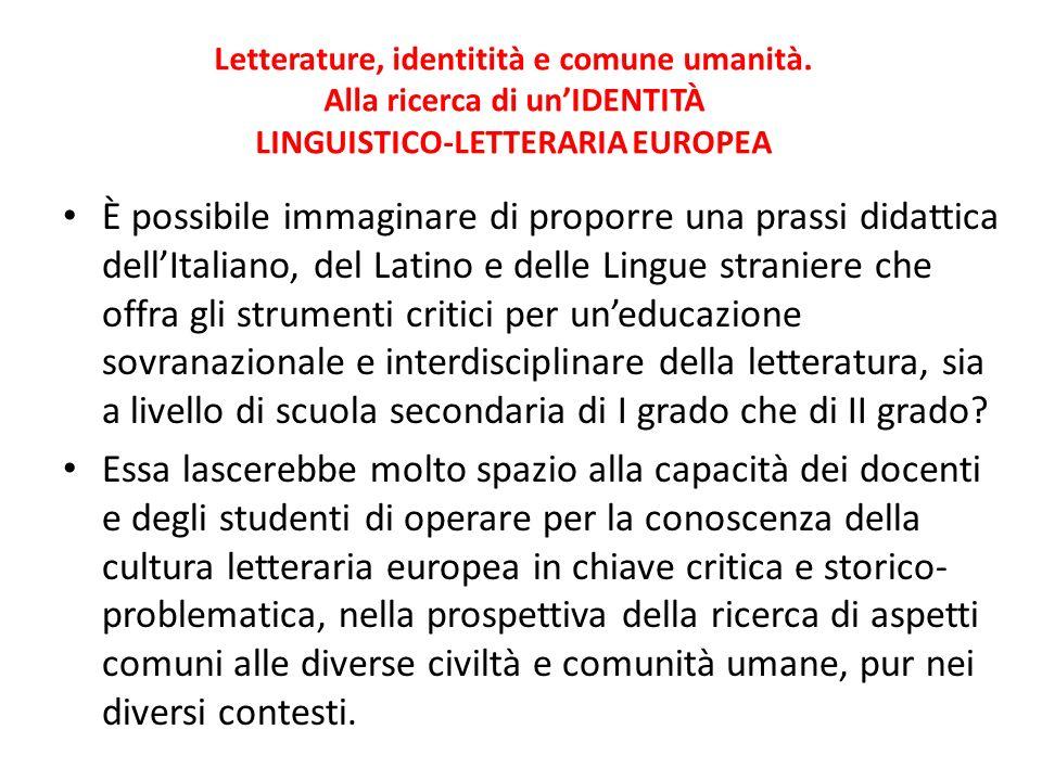 Letterature, identitità e comune umanità
