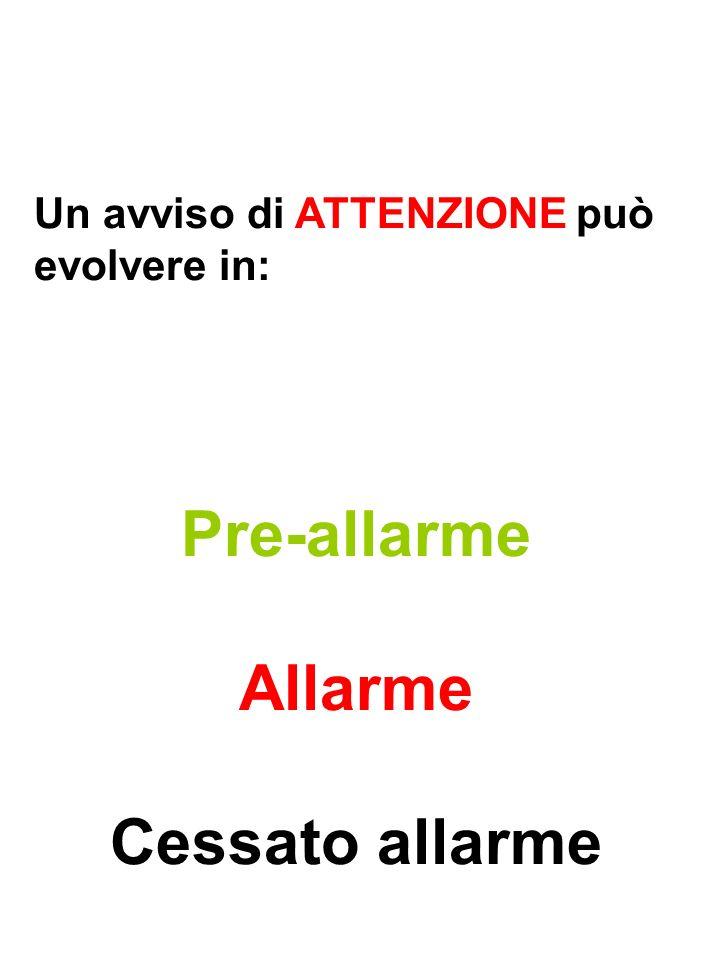Pre-allarme Allarme Cessato allarme