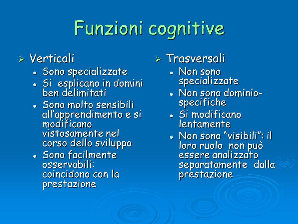 Funzioni cognitive Verticali Trasversali Sono specializzate