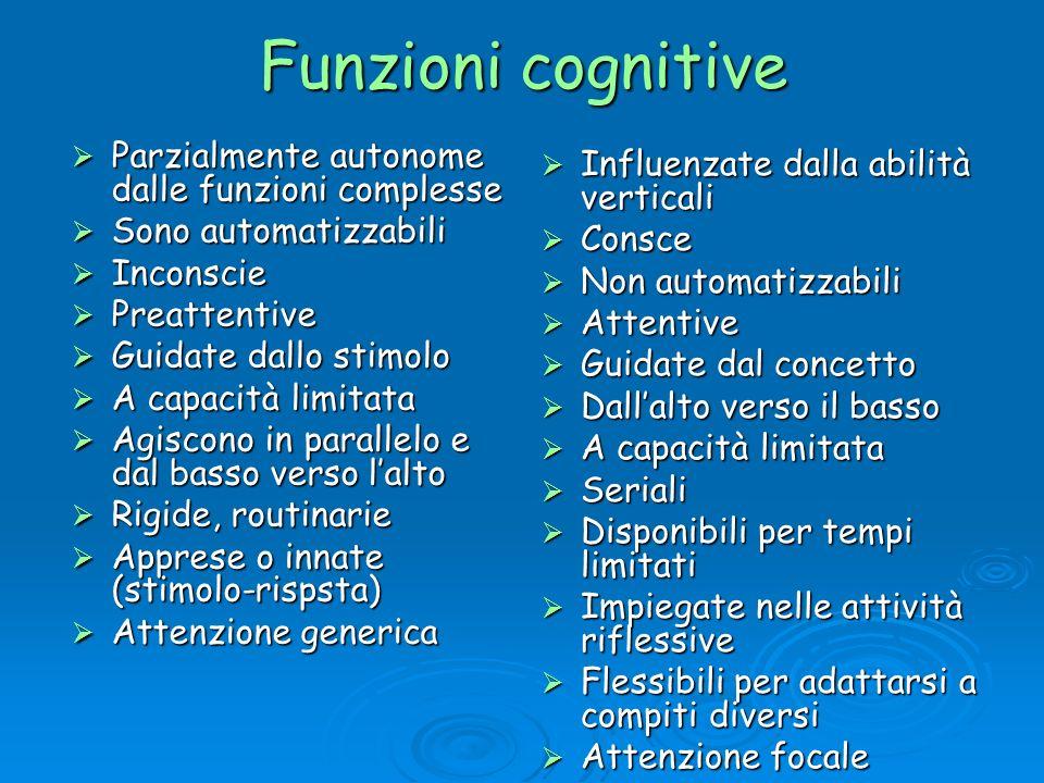 Funzioni cognitive Parzialmente autonome dalle funzioni complesse