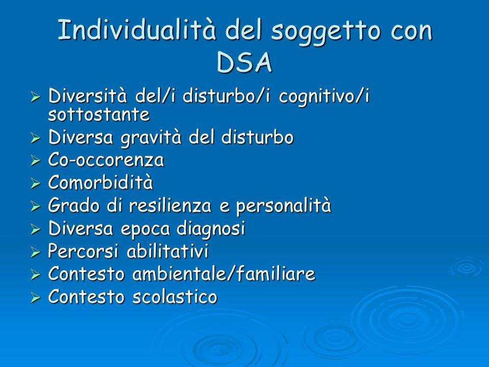 Individualità del soggetto con DSA