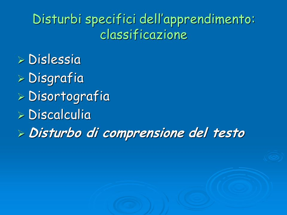 Disturbi specifici dell'apprendimento: classificazione