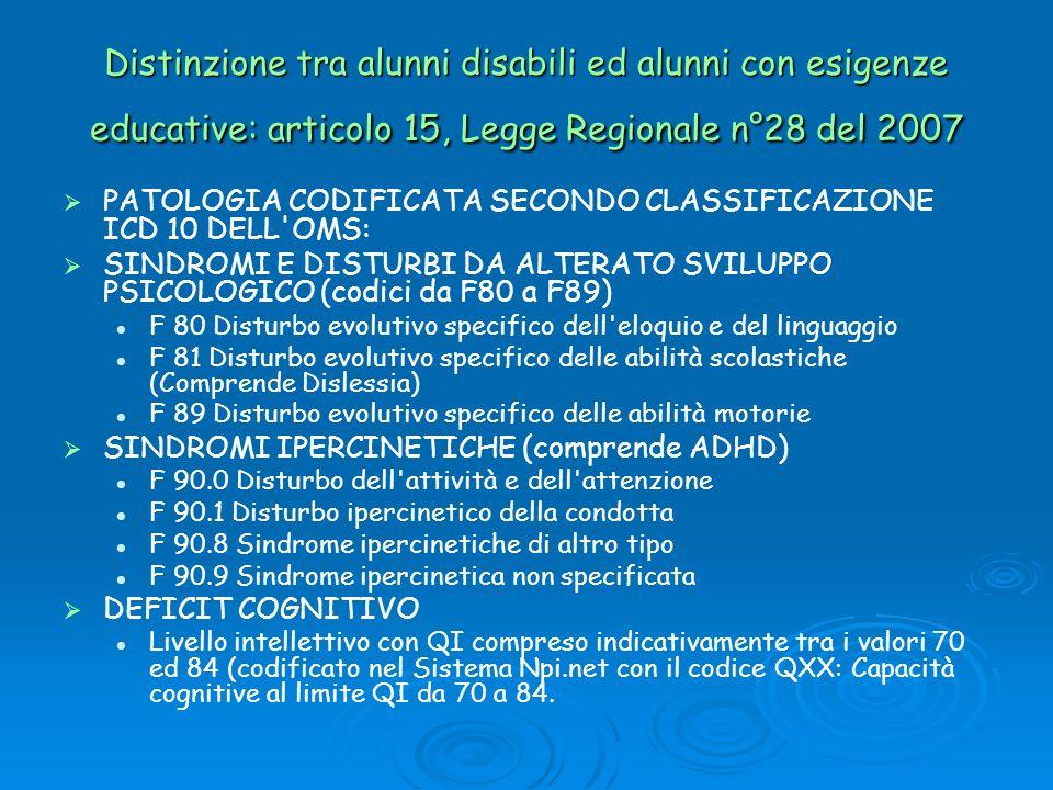 Distinzione tra alunni disabili ed alunni con esigenze educative: articolo 15, Legge Regionale n°28 del 2007